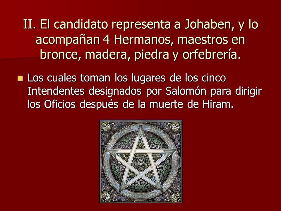 II. El candidato representa a Johaben, y lo acompañan 4 Hermanos, maestros en bronce, madera, piedra y orfebrería.