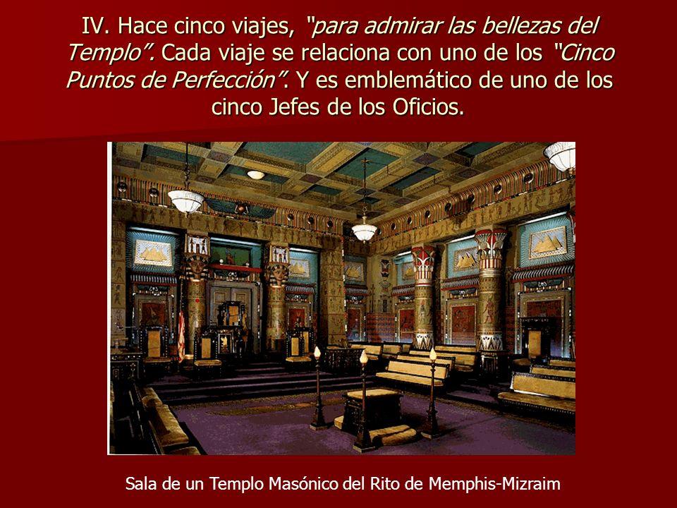 IV. Hace cinco viajes, para admirar las bellezas del Templo