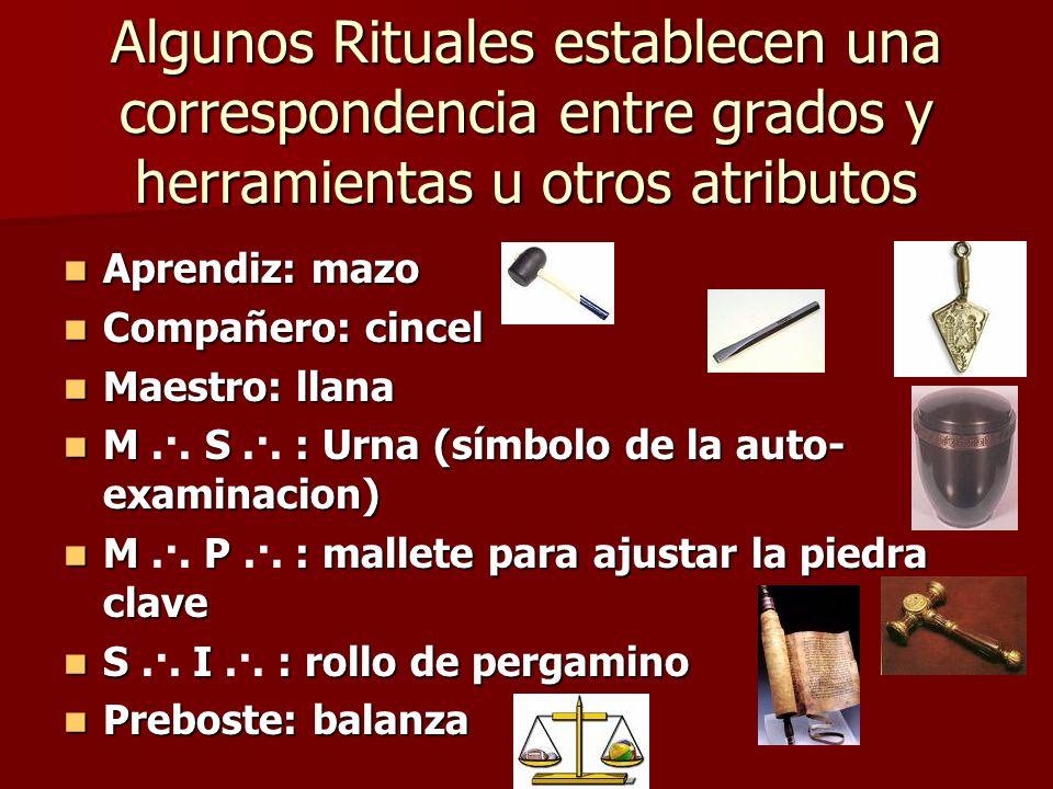 Algunos Rituales establecen una correspondencia entre grados y herramientas u otros atributos