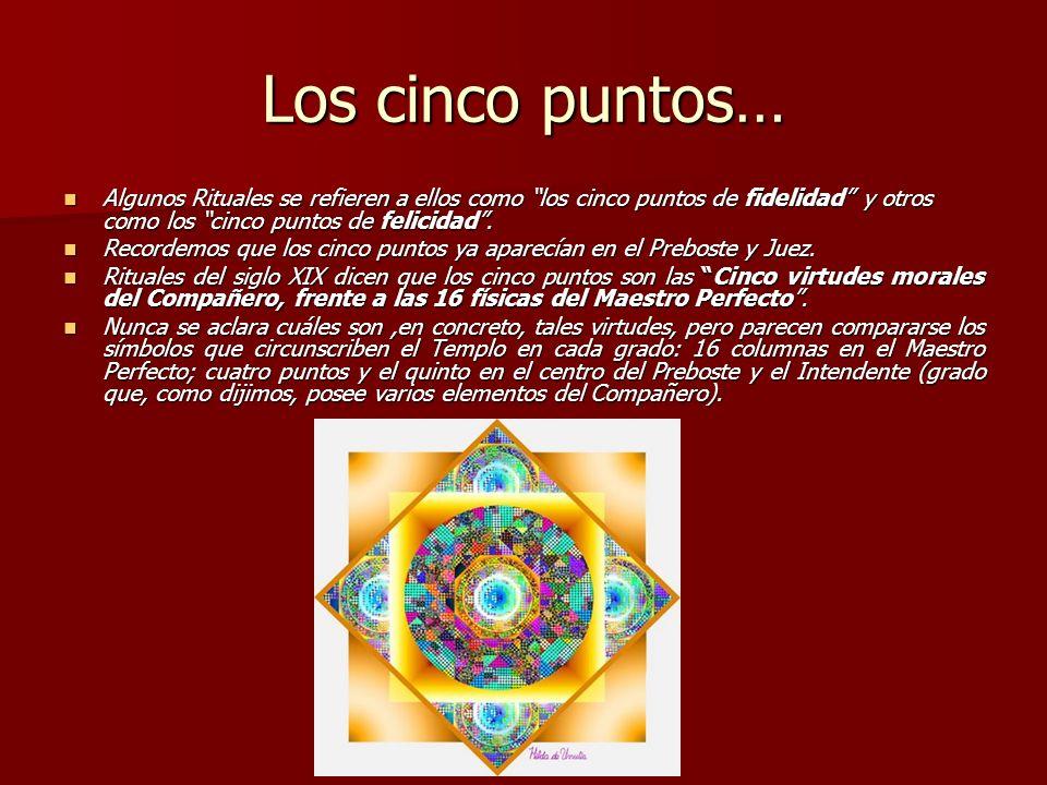 Los cinco puntos… Algunos Rituales se refieren a ellos como los cinco puntos de fidelidad y otros como los cinco puntos de felicidad .