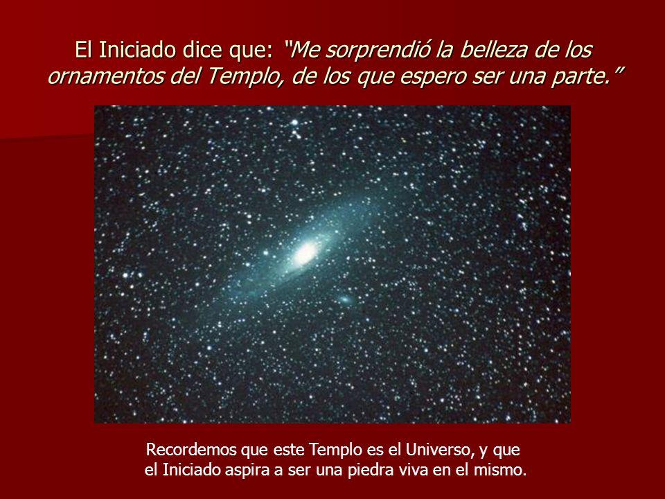 El Iniciado dice que: Me sorprendió la belleza de los ornamentos del Templo, de los que espero ser una parte.