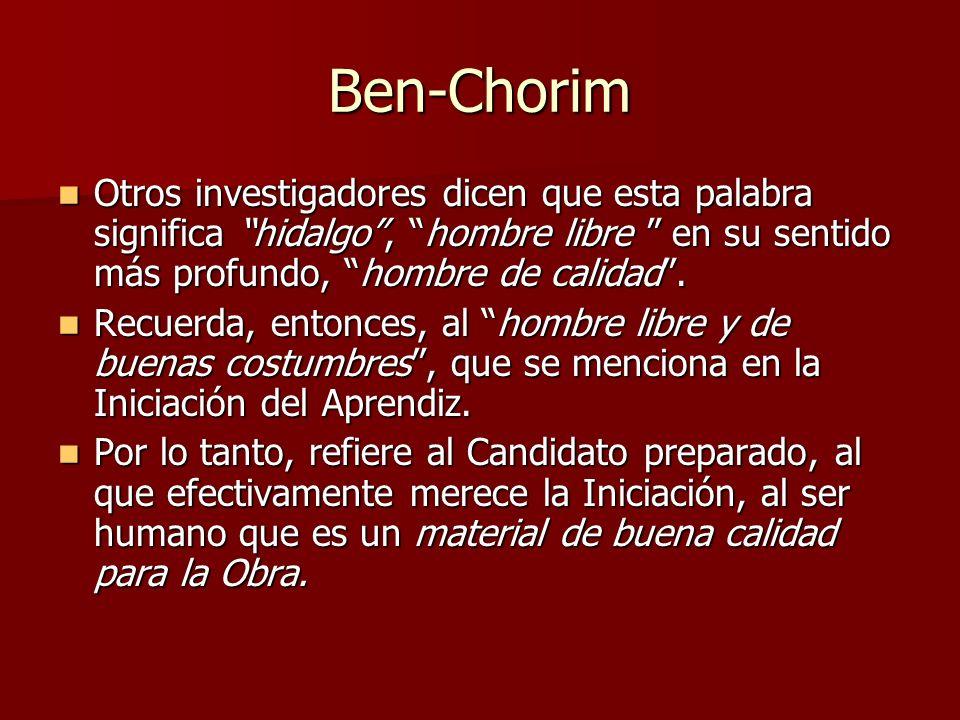 Ben-Chorim Otros investigadores dicen que esta palabra significa hidalgo , hombre libre en su sentido más profundo, hombre de calidad .