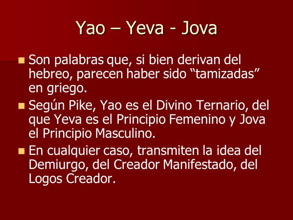 Yao – Yeva - Jova Son palabras que, si bien derivan del hebreo, parecen haber sido tamizadas en griego.