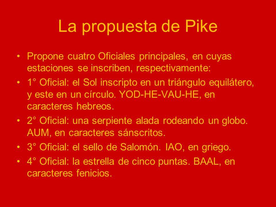 La propuesta de PikePropone cuatro Oficiales principales, en cuyas estaciones se inscriben, respectivamente: