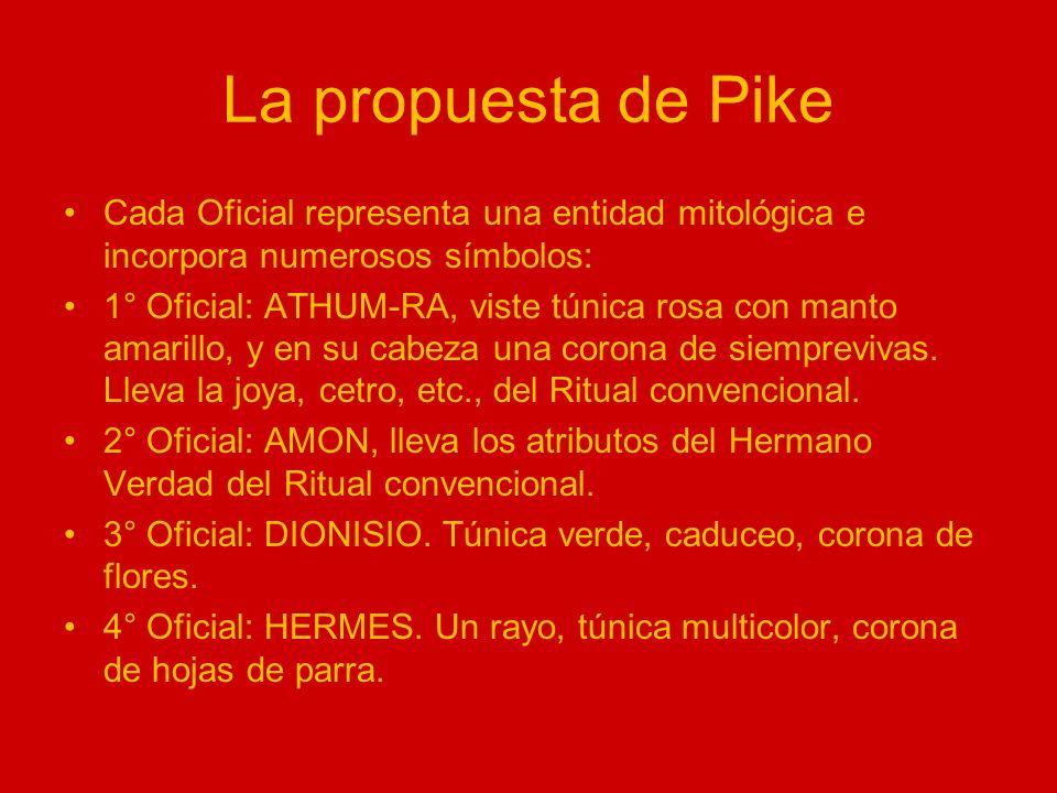La propuesta de Pike Cada Oficial representa una entidad mitológica e incorpora numerosos símbolos:
