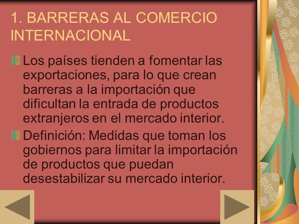 1. BARRERAS AL COMERCIO INTERNACIONAL