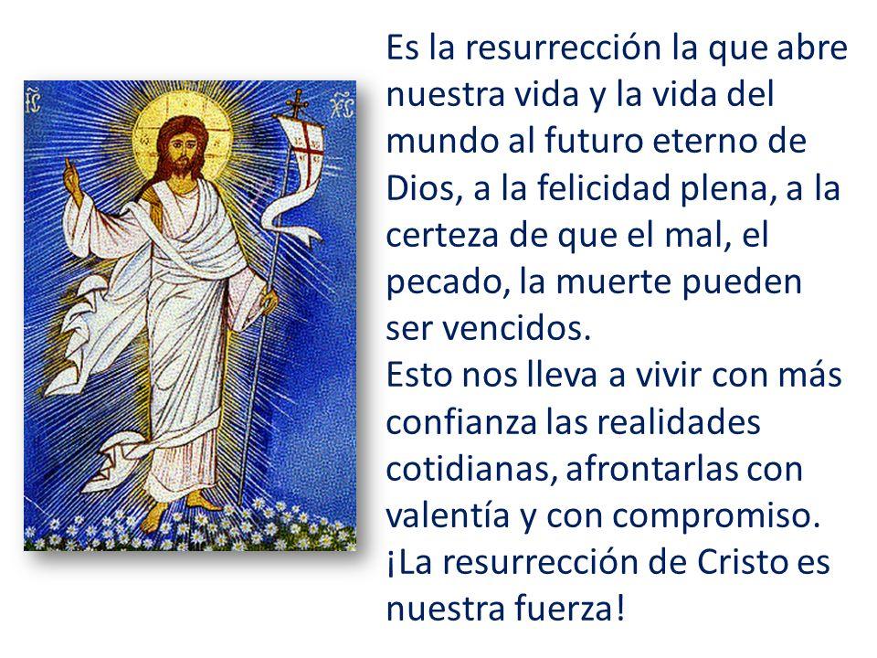 Es la resurrección la que abre nuestra vida y la vida del mundo al futuro eterno de Dios, a la felicidad plena, a la certeza de que el mal, el pecado, la muerte pueden ser vencidos.