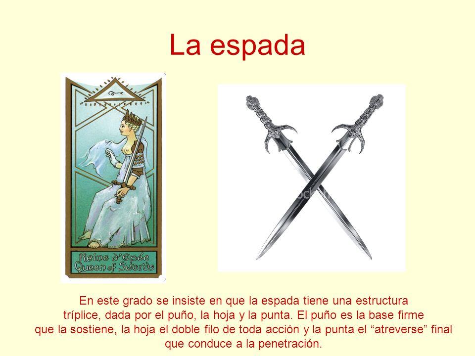 La espada En este grado se insiste en que la espada tiene una estructura. tríplice, dada por el puño, la hoja y la punta. El puño es la base firme.