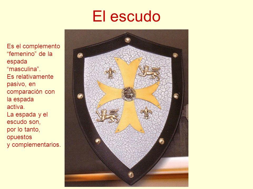 El escudo Es el complemento femenino de la espada masculina .