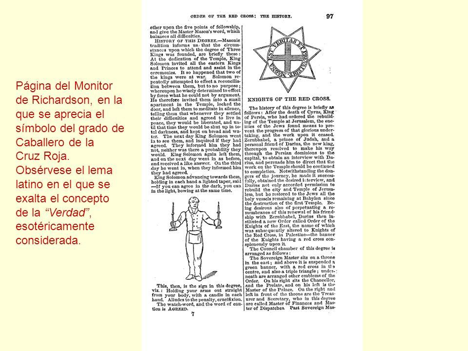 Página del Monitor de Richardson, en la. que se aprecia el. símbolo del grado de. Caballero de la.