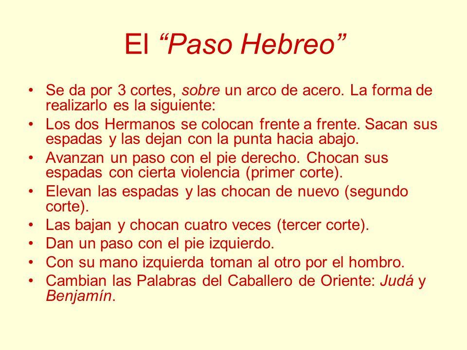 El Paso Hebreo Se da por 3 cortes, sobre un arco de acero. La forma de realizarlo es la siguiente: