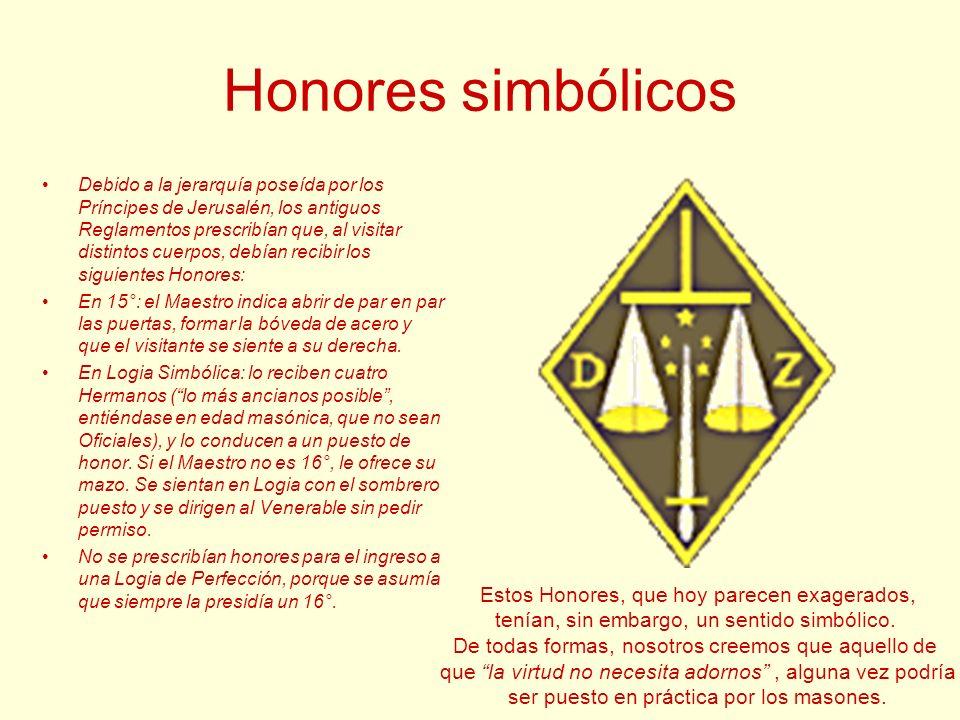 Honores simbólicos Estos Honores, que hoy parecen exagerados,