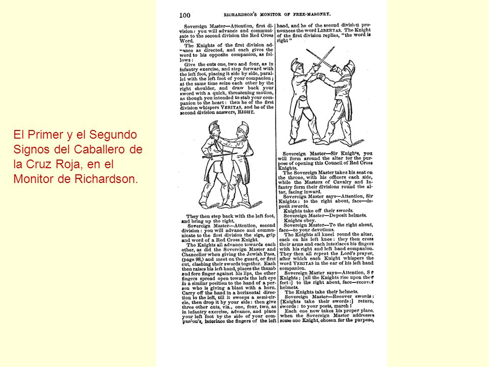 El Primer y el Segundo Signos del Caballero de la Cruz Roja, en el Monitor de Richardson.