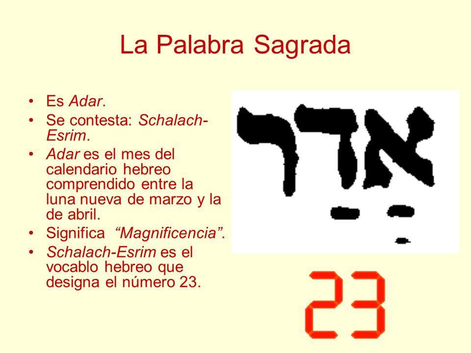 La Palabra Sagrada Es Adar. Se contesta: Schalach-Esrim.