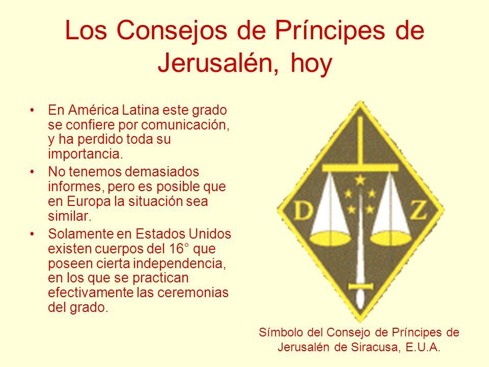 Los Consejos de Príncipes de Jerusalén, hoy