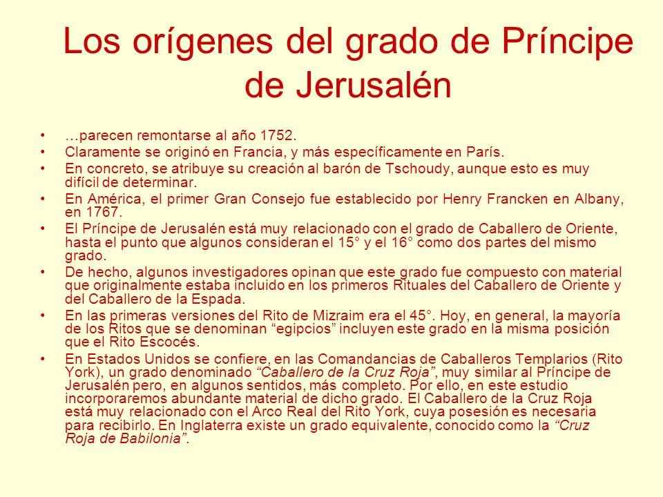 Los orígenes del grado de Príncipe de Jerusalén