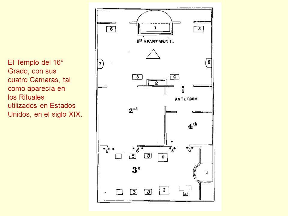 El Templo del 16° Grado, con sus. cuatro Cámaras, tal. como aparecía en. los Rituales. utilizados en Estados.