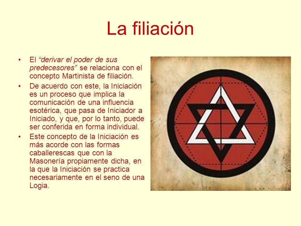 La filiación El derivar el poder de sus predecesores se relaciona con el concepto Martinista de filiación.