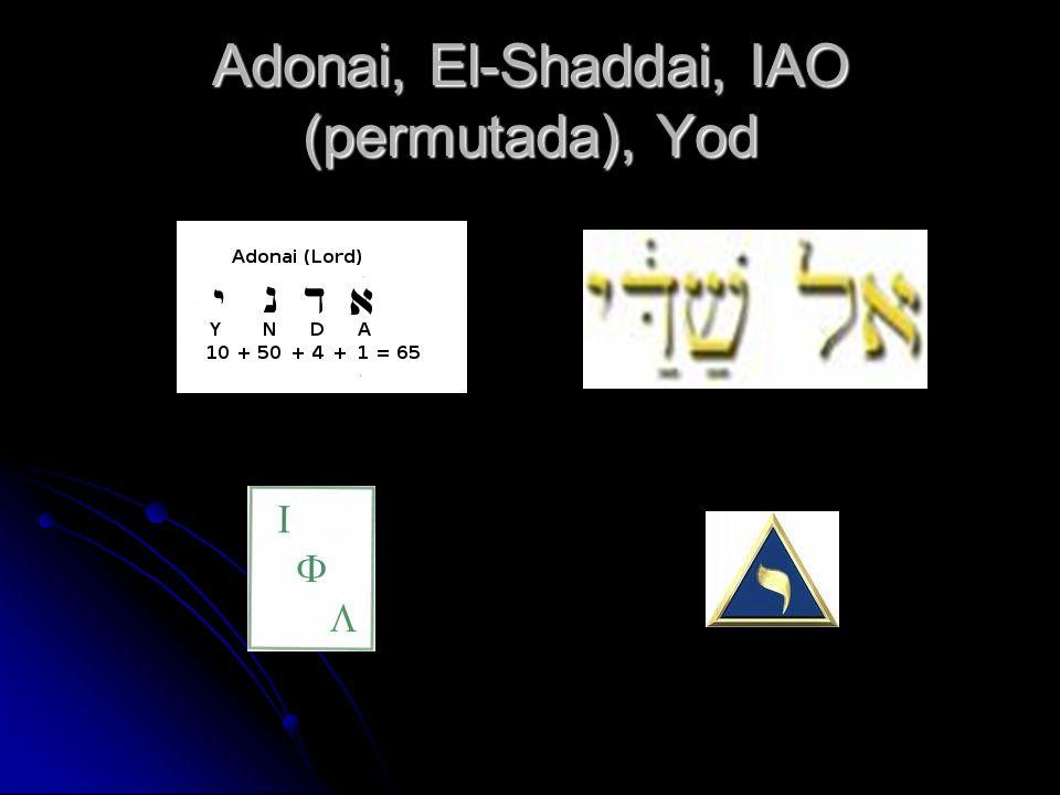 Adonai, El-Shaddai, IAO (permutada), Yod