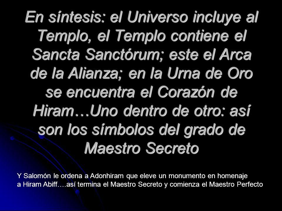 En síntesis: el Universo incluye al Templo, el Templo contiene el Sancta Sanctórum; este el Arca de la Alianza; en la Urna de Oro se encuentra el Corazón de Hiram…Uno dentro de otro: así son los símbolos del grado de Maestro Secreto