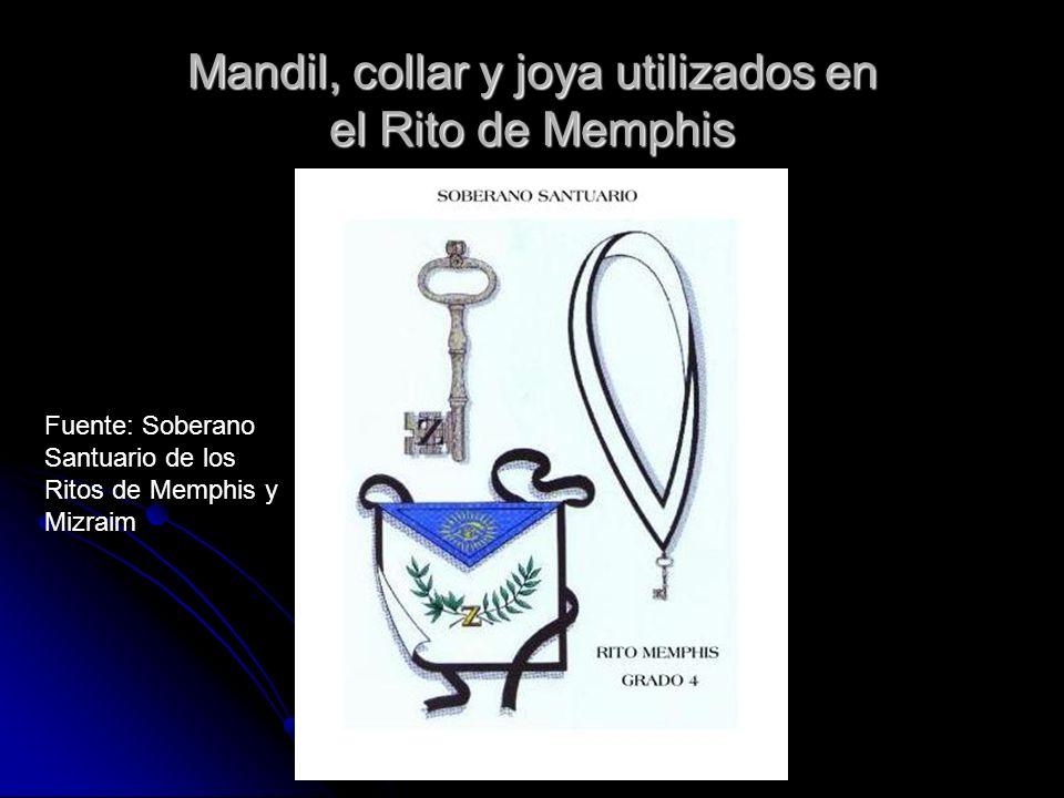 Mandil, collar y joya utilizados en el Rito de Memphis