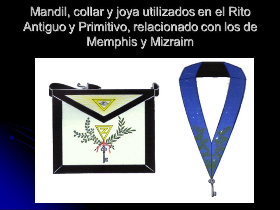 Mandil, collar y joya utilizados en el Rito Antiguo y Primitivo, relacionado con los de Memphis y Mizraim