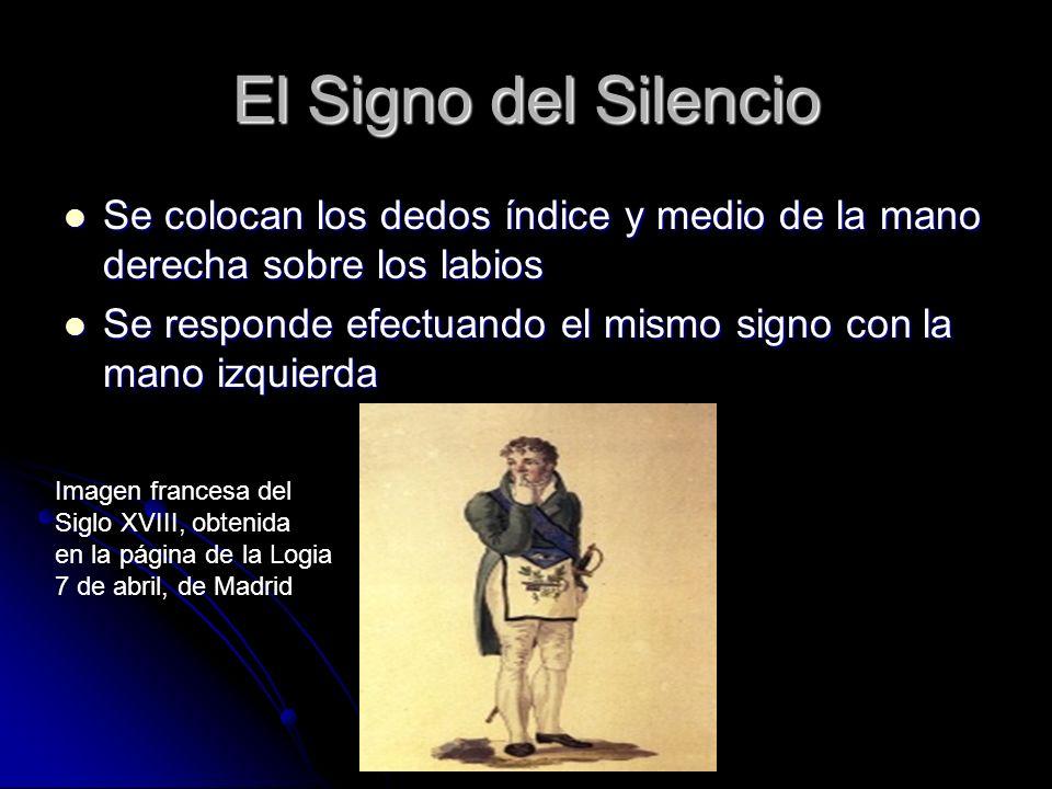 El Signo del Silencio Se colocan los dedos índice y medio de la mano derecha sobre los labios.