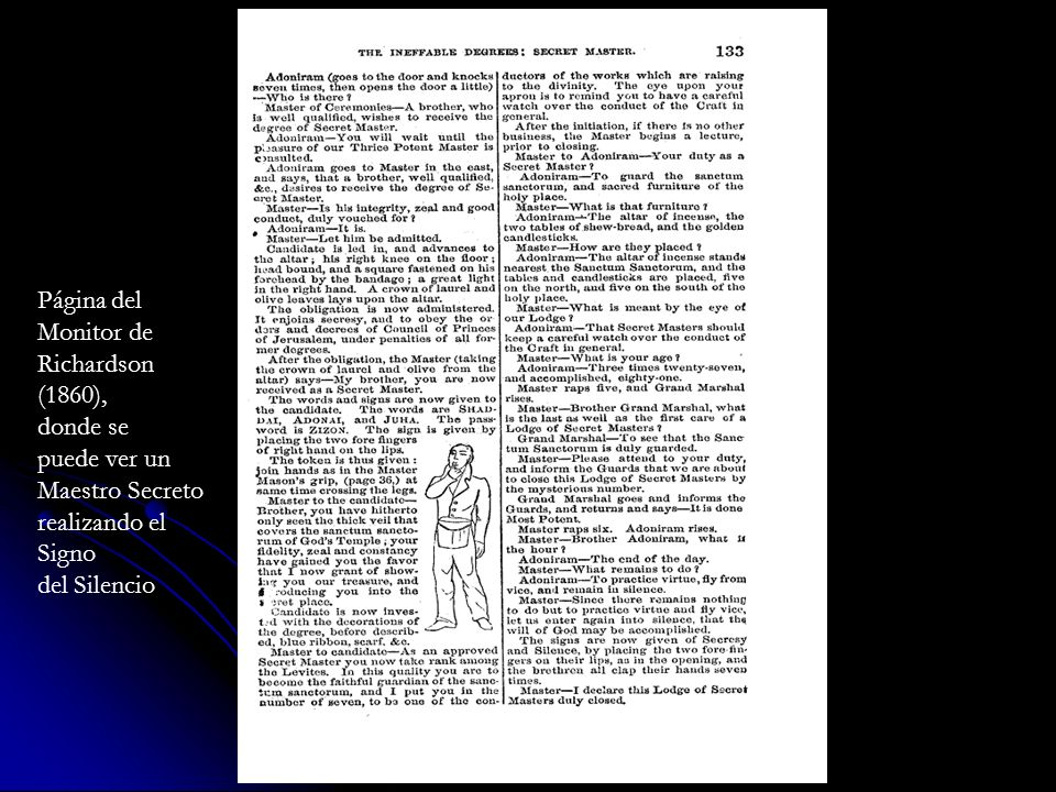 Página del Monitor de. Richardson. (1860), donde se. puede ver un. Maestro Secreto. realizando el.