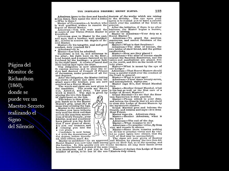 Página delMonitor de. Richardson. (1860), donde se. puede ver un. Maestro Secreto. realizando el. Signo.