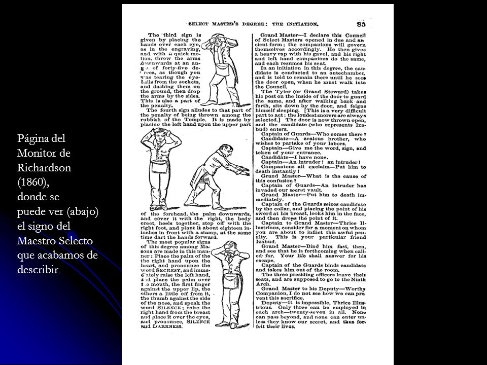 Página del Monitor de. Richardson. (1860), donde se. puede ver (abajo) el signo del. Maestro Selecto.