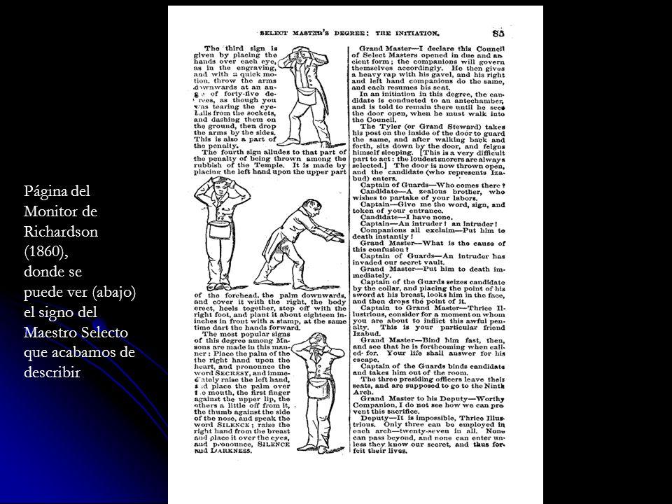 Página delMonitor de. Richardson. (1860), donde se. puede ver (abajo) el signo del. Maestro Selecto.
