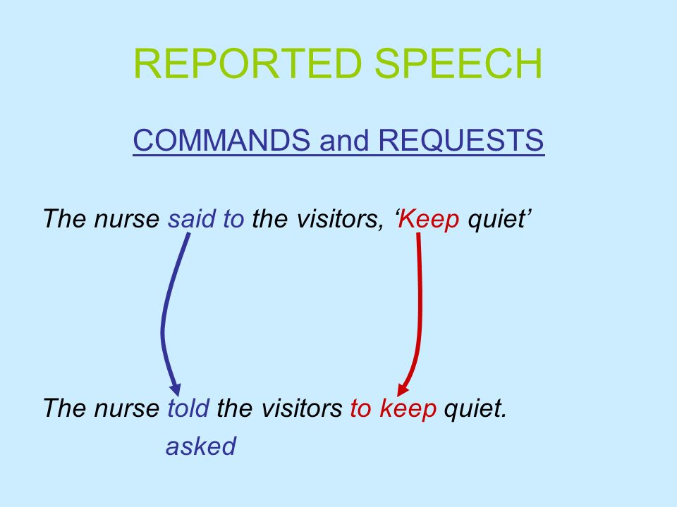 REPORTED SPEECH COMMANDS and REQUESTS