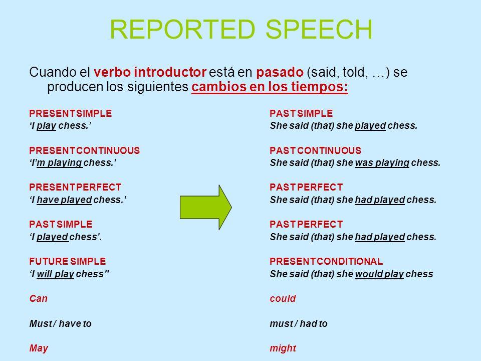 REPORTED SPEECHCuando el verbo introductor está en pasado (said, told, …) se producen los siguientes cambios en los tiempos: