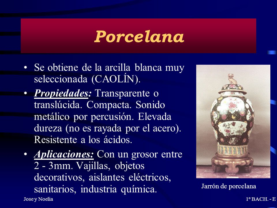 Porcelana Se obtiene de la arcilla blanca muy seleccionada (CAOLÍN).