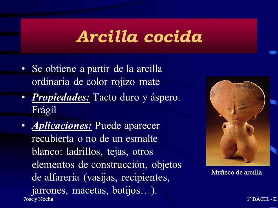 Arcilla cocidaSe obtiene a partir de la arcilla ordinaria de color rojizo mate. Propiedades: Tacto duro y áspero. Frágil.