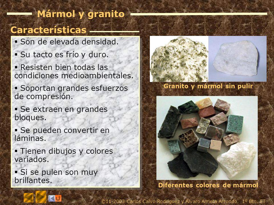 Materiales p treos obtenci n caracter sticas y for Densidad de marmol
