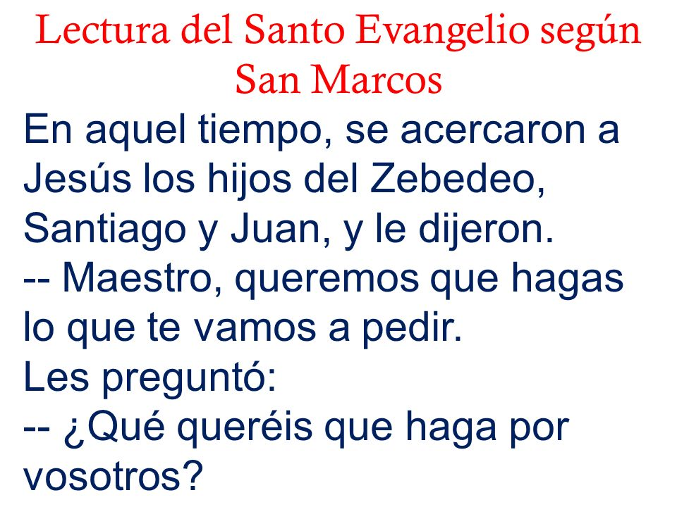 Lectura del Santo Evangelio según San Marcos