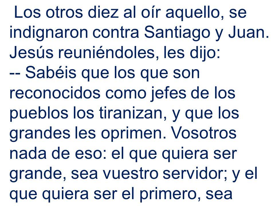 Los otros diez al oír aquello, se indignaron contra Santiago y Juan