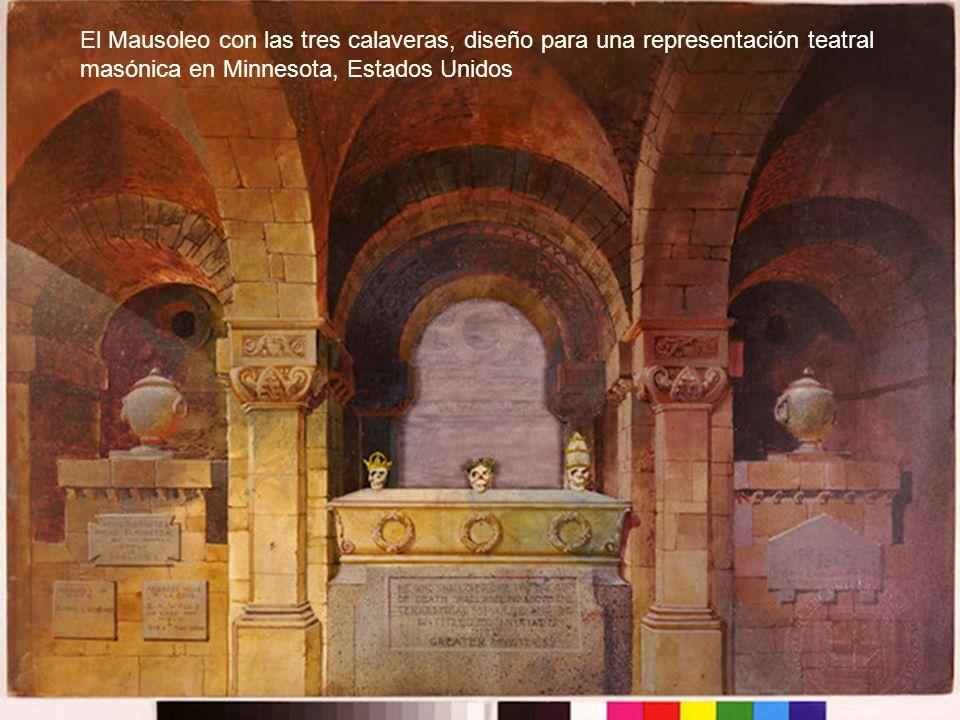 El Mausoleo con las tres calaveras, diseño para una representación teatral