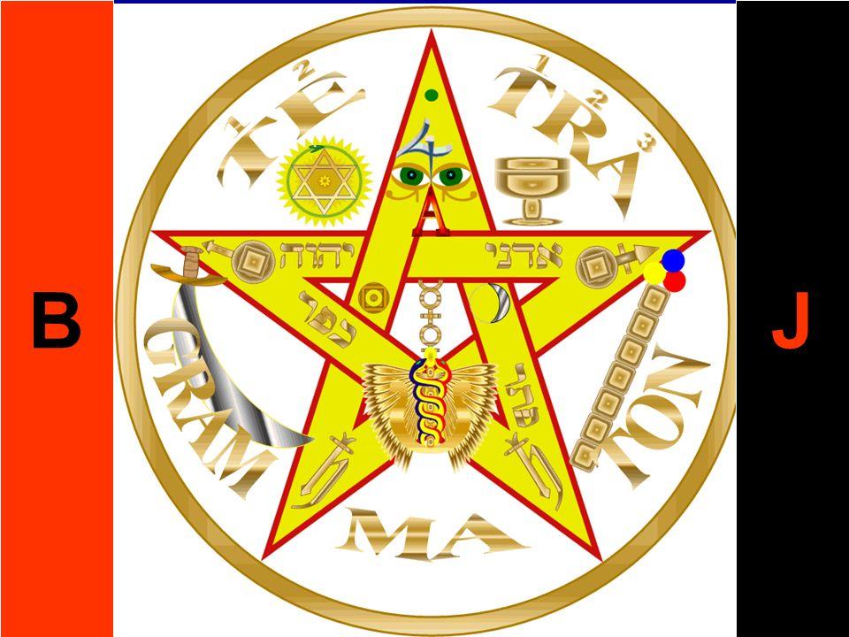B J. VIII. La Estrella. Se le presenta al Candidato la Estrella de la Mañana (el Lucífero), en la forma del Pentagrama Dorado, rodeado de nubes.
