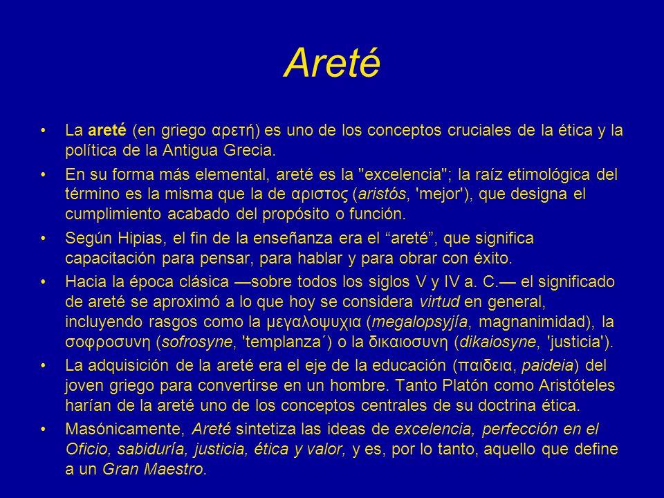 Areté La areté (en griego αρετή) es uno de los conceptos cruciales de la ética y la política de la Antigua Grecia.