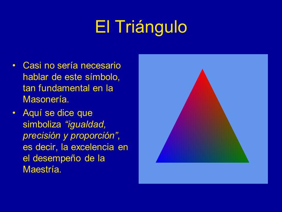 El Triángulo Casi no sería necesario hablar de este símbolo, tan fundamental en la Masonería.