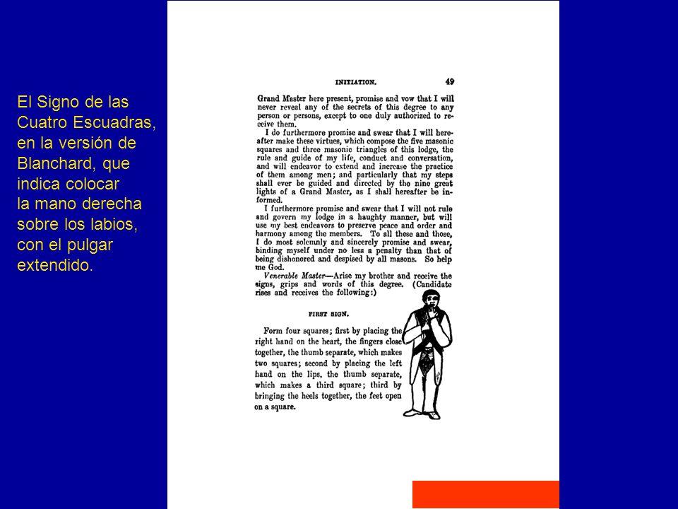 El Signo de las Cuatro Escuadras, en la versión de. Blanchard, que. indica colocar. la mano derecha.