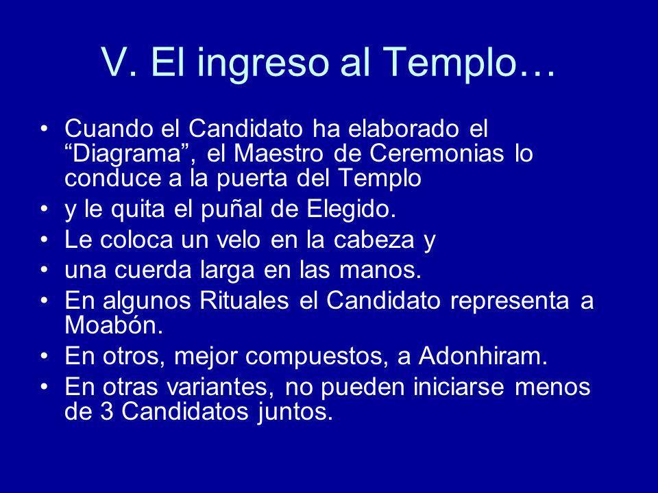 V. El ingreso al Templo… Cuando el Candidato ha elaborado el Diagrama , el Maestro de Ceremonias lo conduce a la puerta del Templo.