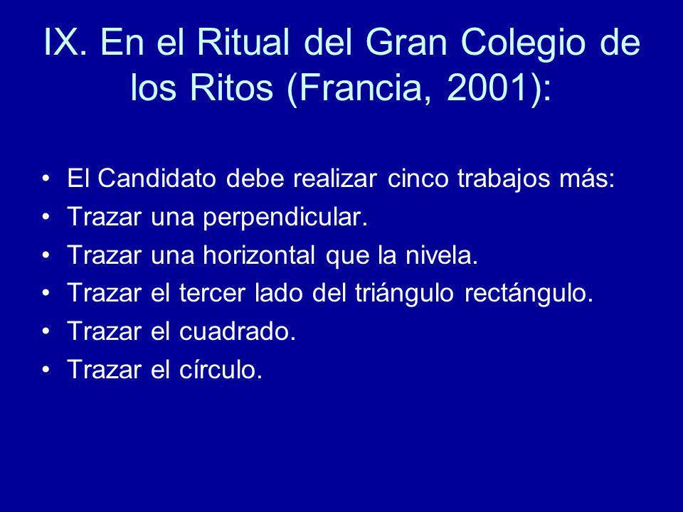 IX. En el Ritual del Gran Colegio de los Ritos (Francia, 2001):