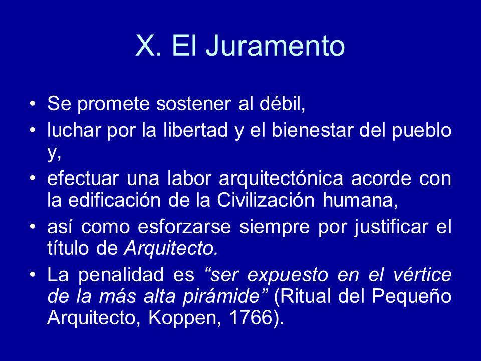 X. El Juramento Se promete sostener al débil,