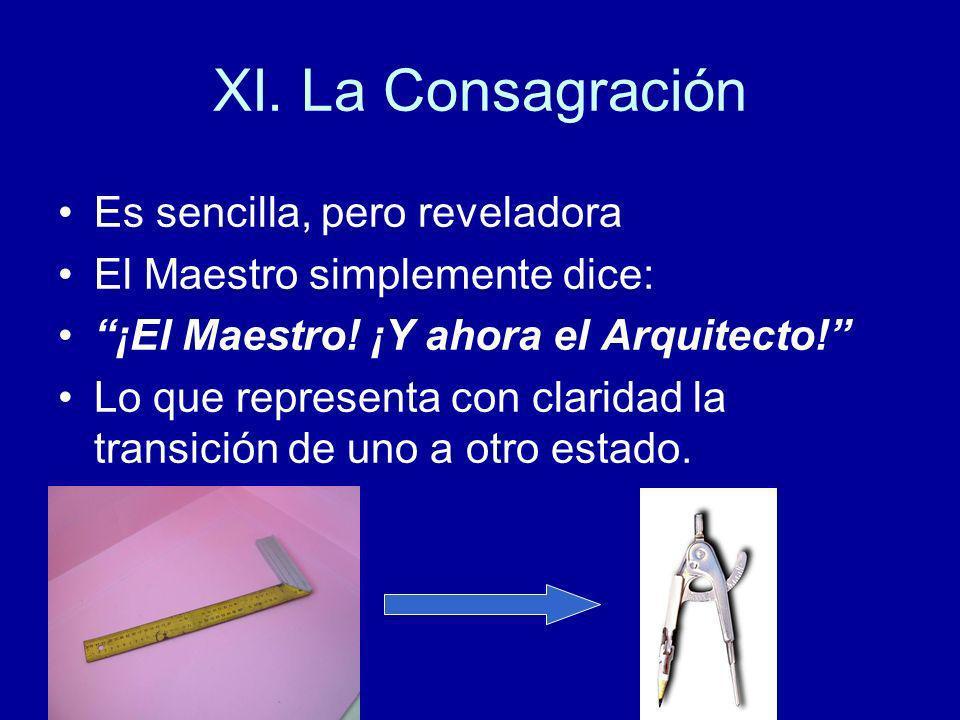 XI. La Consagración Es sencilla, pero reveladora