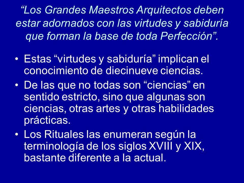Los Grandes Maestros Arquitectos deben estar adornados con las virtudes y sabiduría que forman la base de toda Perfección .