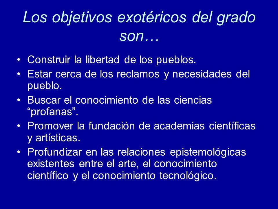 Los objetivos exotéricos del grado son…