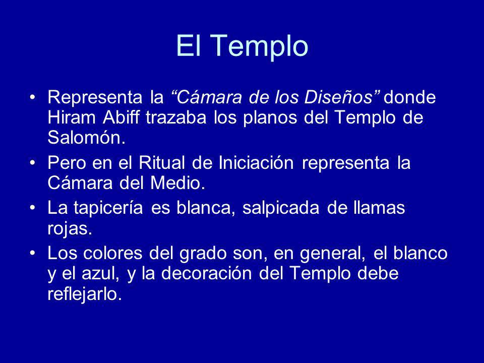 El TemploRepresenta la Cámara de los Diseños donde Hiram Abiff trazaba los planos del Templo de Salomón.